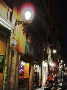 Barcelona Spain the little plaza out of Santa Maria del Mar