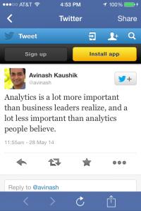 analytics tweet from Avinash Kaushik